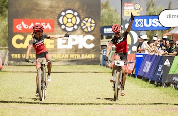 Annika Langvad & Ariane Kleinhans of Spur-Specialized  win stage 2 of the 2016 Absa Cape Epic Mountain Bike stage race from Saronsberg Wine Estate in Tulbagh, South Africa on the 15th March 2016 Photo by Gary Perkin/Cape Epic/SPORTZPICS PLEASE ENSURE THE APPROPRIATE CREDIT IS GIVEN TO THE PHOTOGRAPHER AND SPORTZPICS ALONG WITH THE ABSA CAPE EPIC {ace2016}